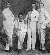 Photo of Hiller (far left) and Furness (second from left)
