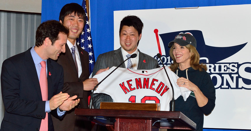 amb caroline kennedy, uehara and tazawa at red sox reception
