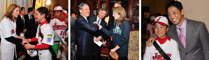 amb caroline kennedy and Masanori Murakami, the first Japanese MLB player; so taguchi with little leaguer at red sox reception