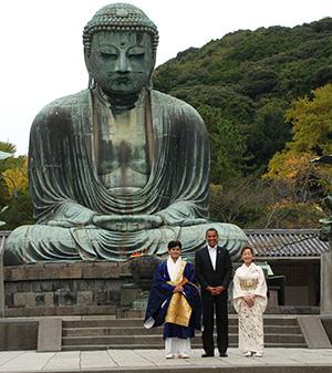 President Obama at Great Buddha in Kamakura