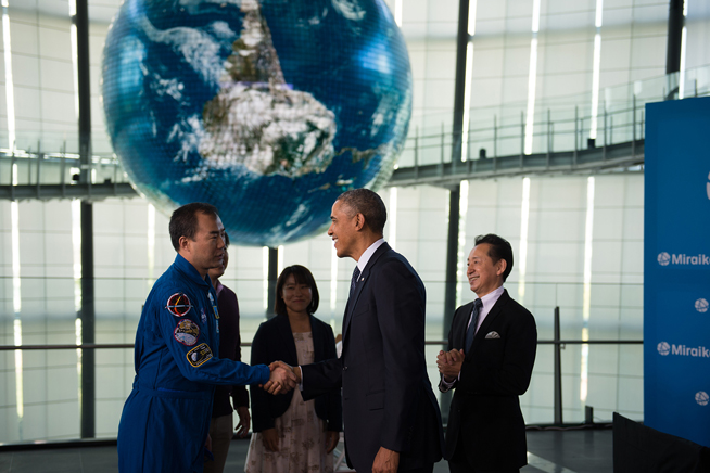 President Obama Greets Japanese Astronauts and Students