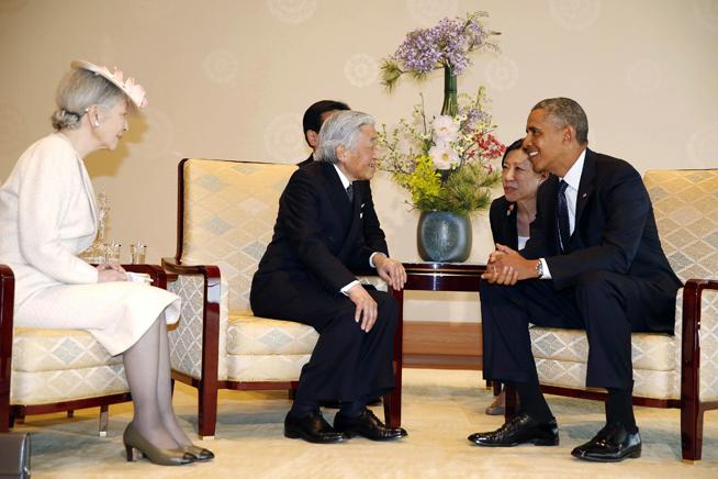 Barack Obama, Emperor Akihito, Empress Michiko