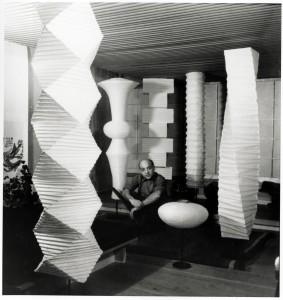 Isamu Noguchi with Akari in his studio, c. 1960s
