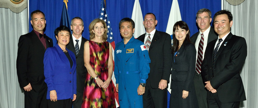 Photo of amb. Kennedy and Koichi Wakata and others