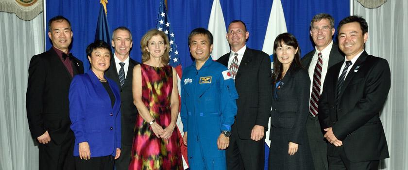 Photo of amb. Kennedy and Koichi Wakata and others