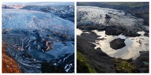 アイスランドのソルヘイマ氷河。左側2009年12月撮影。右側2011年7月撮影 (Extreme Ice Survey/James Balog)