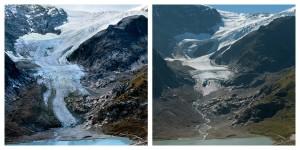 スイスのシュタイン氷河。左側は2006年9月に、右側は2012年9月に撮影 (Extreme Ice Survey/James Balog)