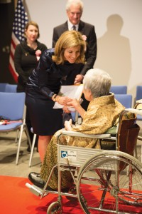 ambassador Kennedy talks to Mrs. Hanami