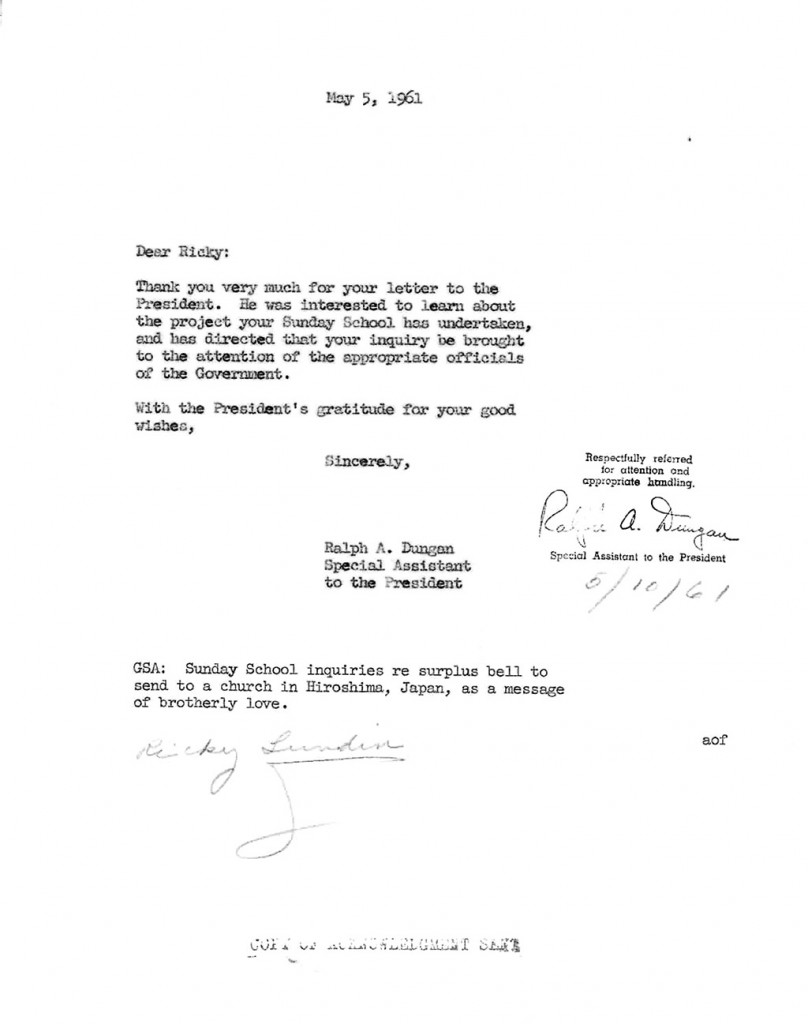 Letter from Ralph Duggan to Ricky Lundin