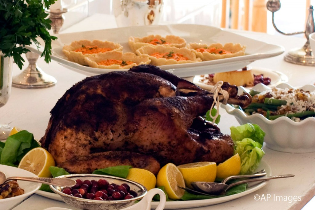 Turkey is the main course at a typical American Thanksgiving dinner. (© AP Images)