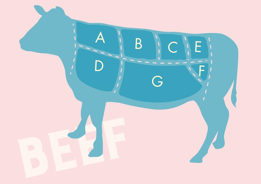 牛肉の部位の図