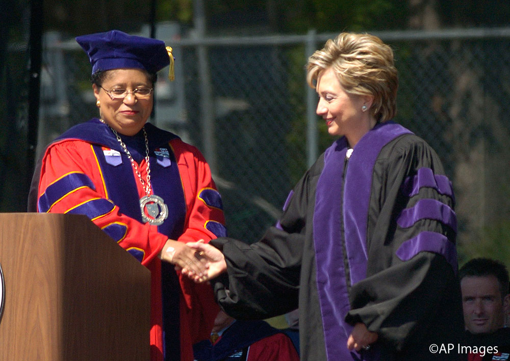 Sen. Hillary Rodham Clinton, D-New York, right, shakes hands with Rensselaer Polytechnic Institute President Shirley Ann Jackson during commencement excercises in Troy, N.Y. Saturday, May, 21, 2005. (AP Photo/Tim Roske)