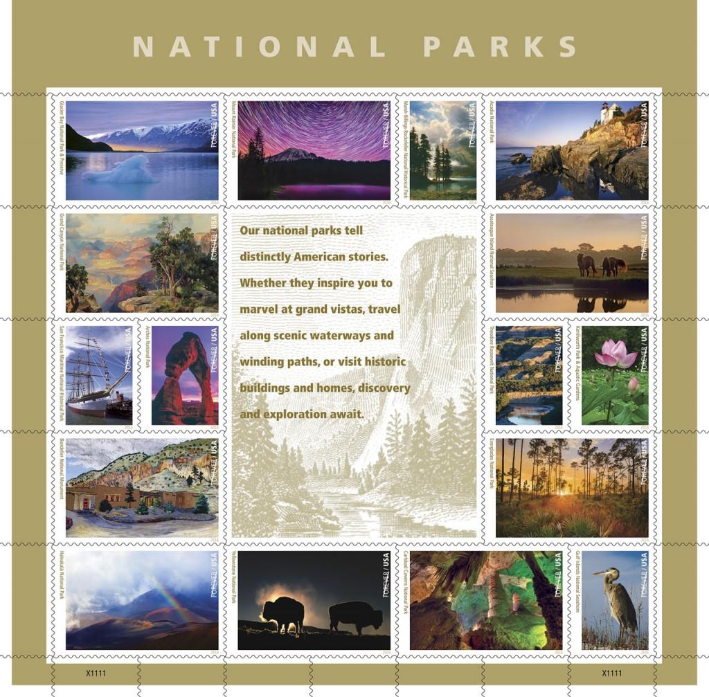 国立公園局創設100周年祝して米国郵政公社が発売した16枚の記念切手。国立公園や、関連する動植物、建造物が描かれている (U.S. Postal Service photo)