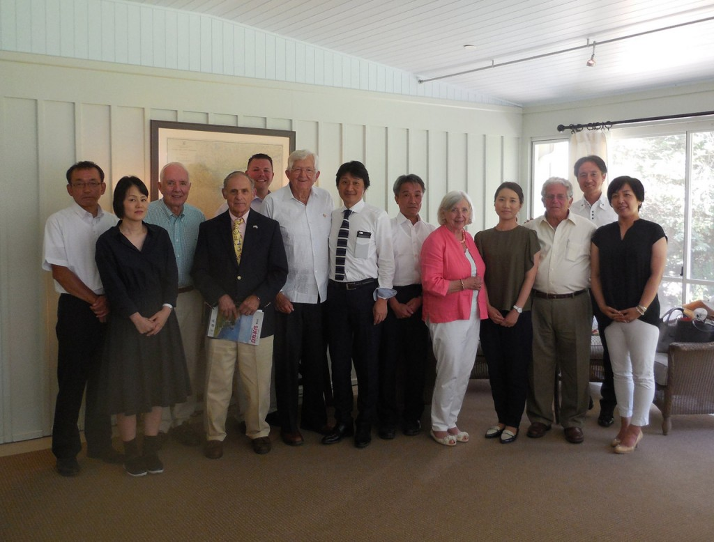 Members of the Kyotango delegation take part in a luncheon with the Singing Beach Club.