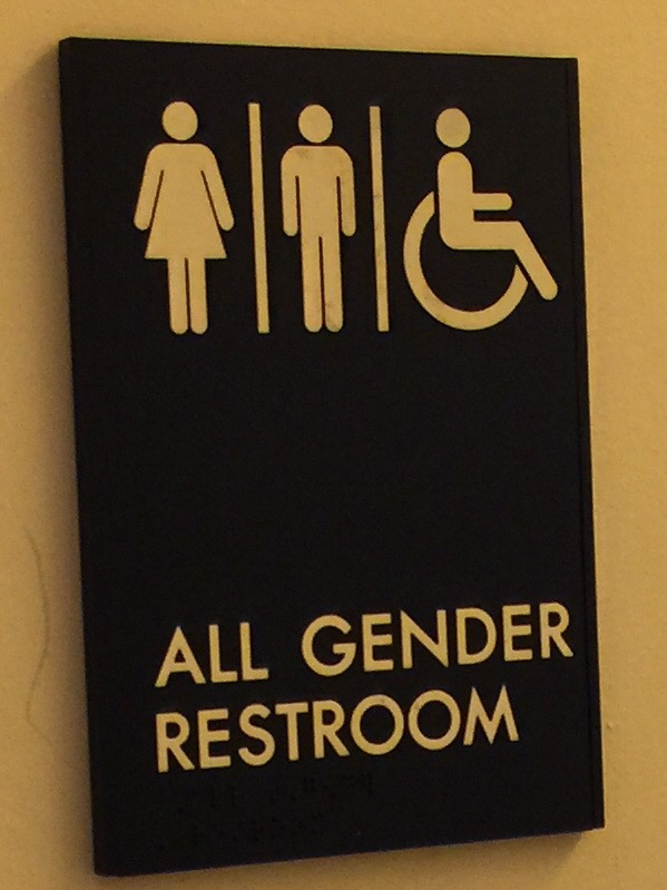 Sign for an all gender restroom that anyone is free to use