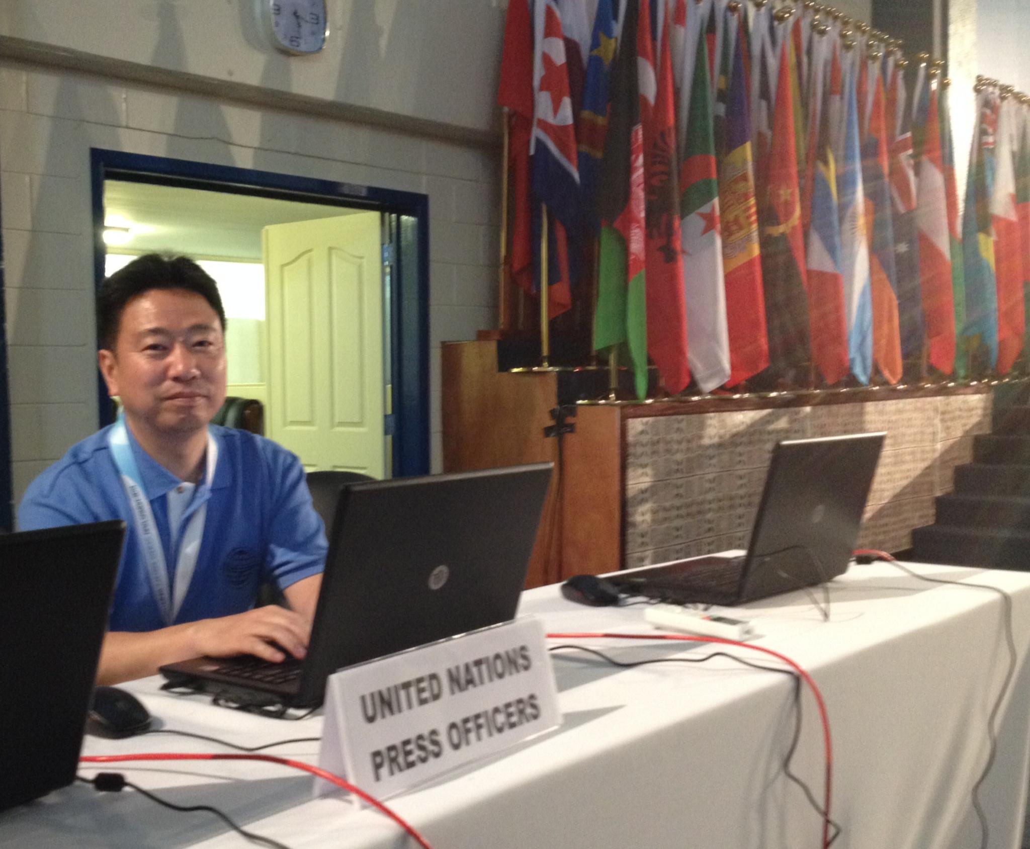 2014年サモアで行われた小島嶼開発途上国(SIDS)国際会議をカバーしたときの様子