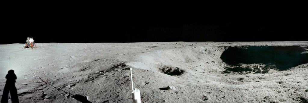 Apollo 11 astronauts photographed the moon in 1969 using film cameras. Teams in a global competition to land on the moon hope to share high-definition video. (NASA)