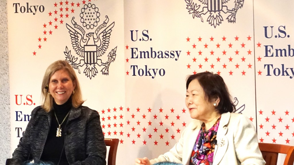 U.S. Embassy Minister-Counselor for Public Affairs Margot Carrington and Tokyo Kasei University Professor Emerita Keiko Higuchi speak at a symposium at the American Center Japan on January 26, 2017.