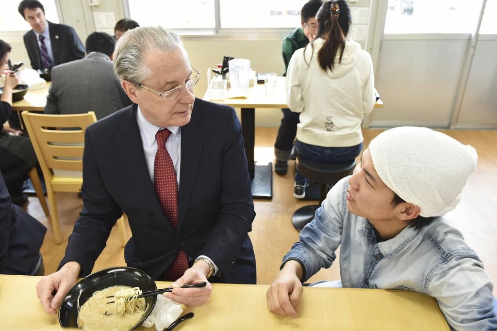 Enjoying lunch at Mashiki Ramen, in the Techno Temporary Housing Facility, Kumamoto.