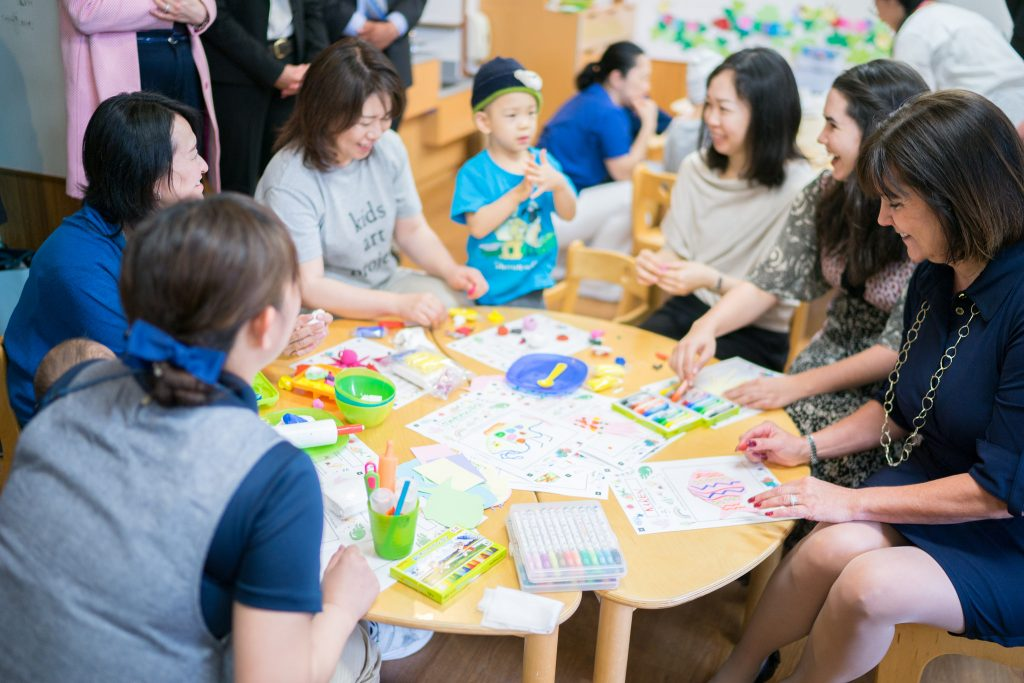 Vice President Mike Pence's wife Karen participates in an art therapy session at St. Luke's International Hospital in Tokyo on April