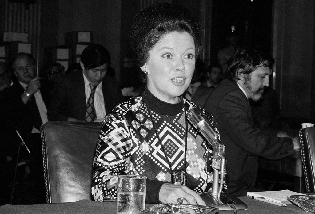 Shirley Temple Black appears before the Senate Foreign Relations Committee in Washington on her appointment to be ambassador to Ghana, Sept. 11, 1974. (AP Photo)