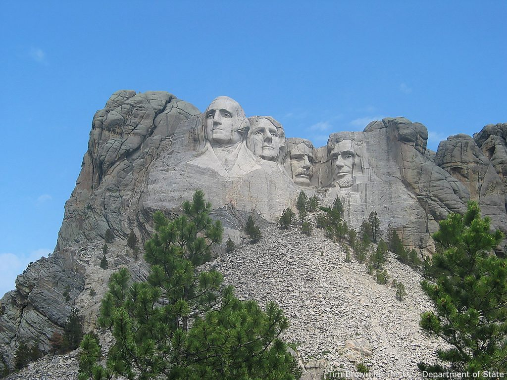 Mount Rushmore National Memorial, near Keystone, South Dakota. From left to right the U.S. Presidents are George Washington, Thomas Jefferson, Theodore Roosevelt, and Abraham Lincoln. (Photo by Tim Brown)