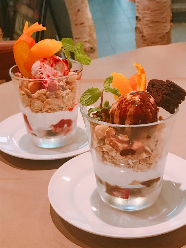 T's Restaurant's chocolate and fruit parfaits made with California walnuts