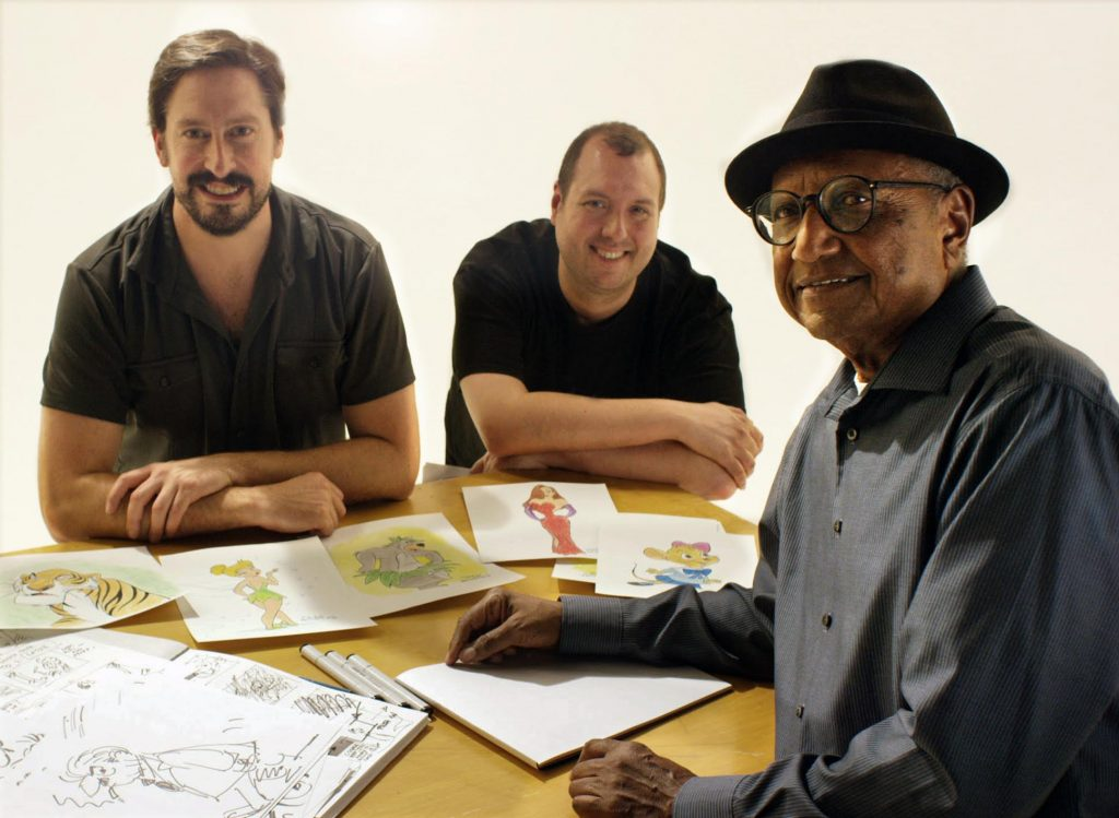 Michael Fiore (left), Erik Sharkey (center), and Floyd Norman (right)
