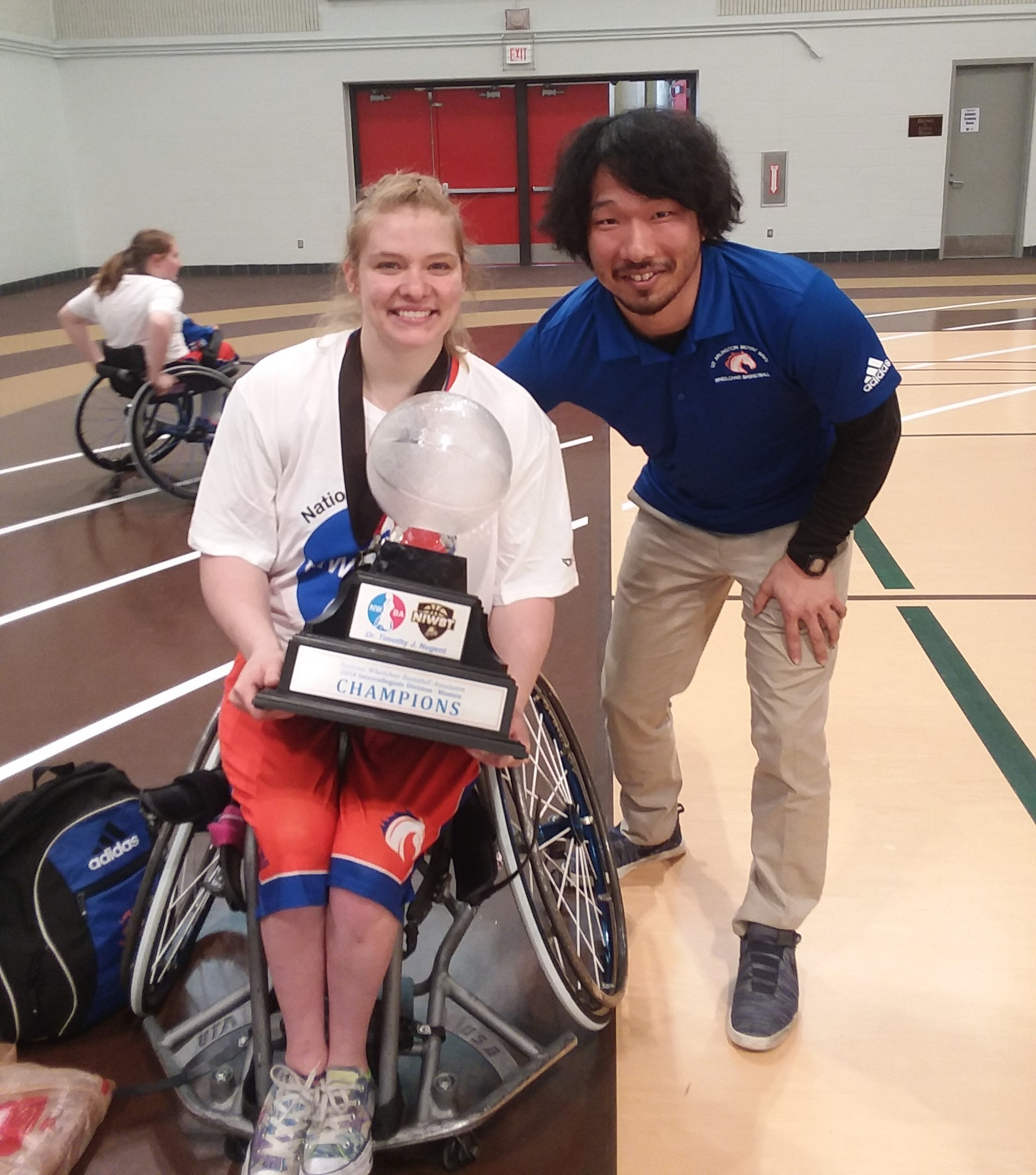 Rose Hollermann led the UTA Lady Movin' Mavs to victory at the 2018 National Wheelchair Basketball Tournament and was named most valuable player. Saito had the opportunity to train almost every day with Hollermann, who is also a member of the U.S. Women's National Wheelchair Basketball Team.
