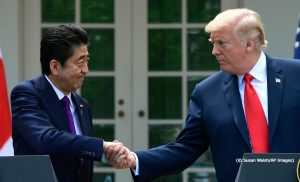President Trump greets Japanese Prime Minister Shinzō Abe at a White House news conference. (© Susan Walsh/AP Images)