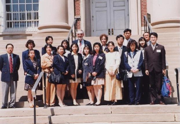 Kazuo Hata (far right, front) with the Kitami City Youth Jet Delegation in Elizabeth in 1996