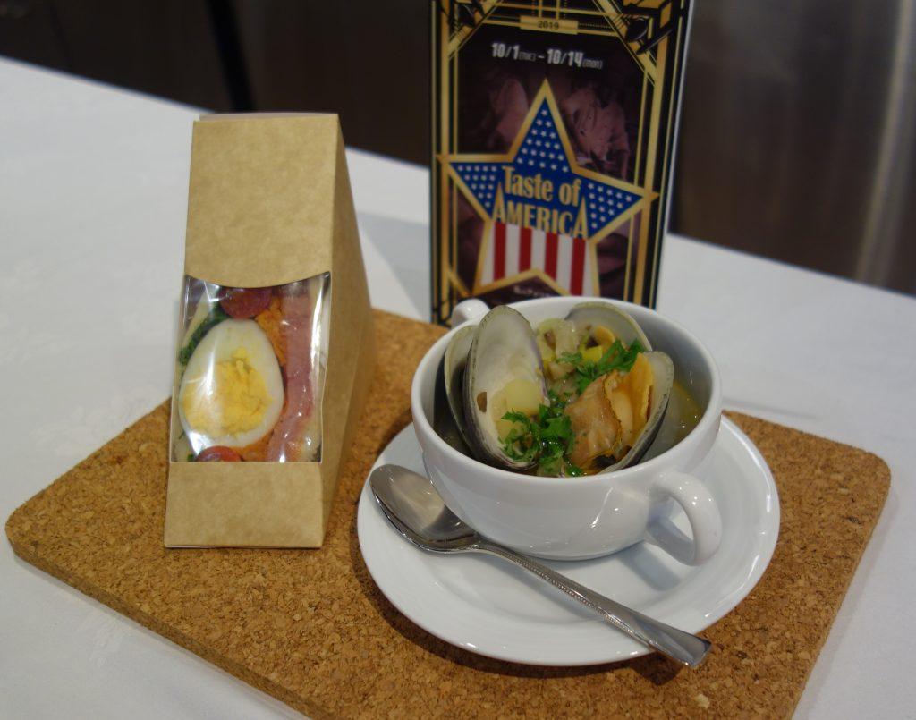 木部料理長がキックオフイベントで披露したロードアイランド風クラムチャウダーとサンドイッチ