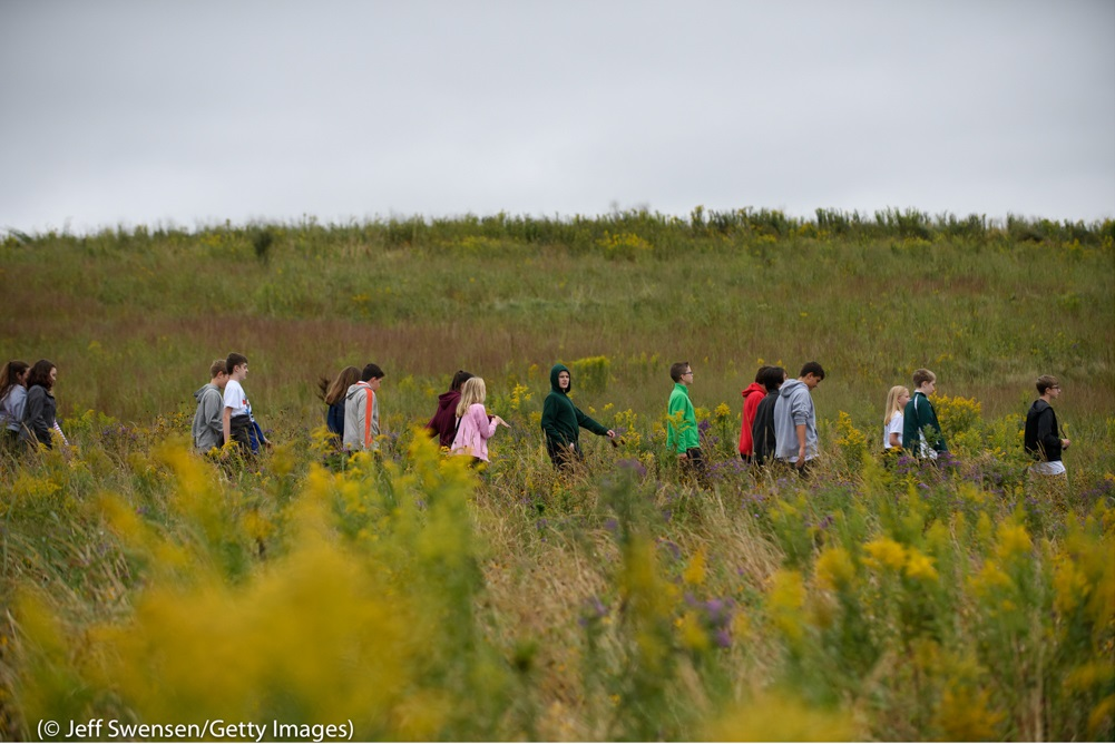 In Shanksville, Pennsylvania, site of the crash of United Airlines Flight 93 on September 11, visitors walk through fields along the path to the Wall of Names memorial. They had just heard President Trump speak at the Flight 93 National Memorial.