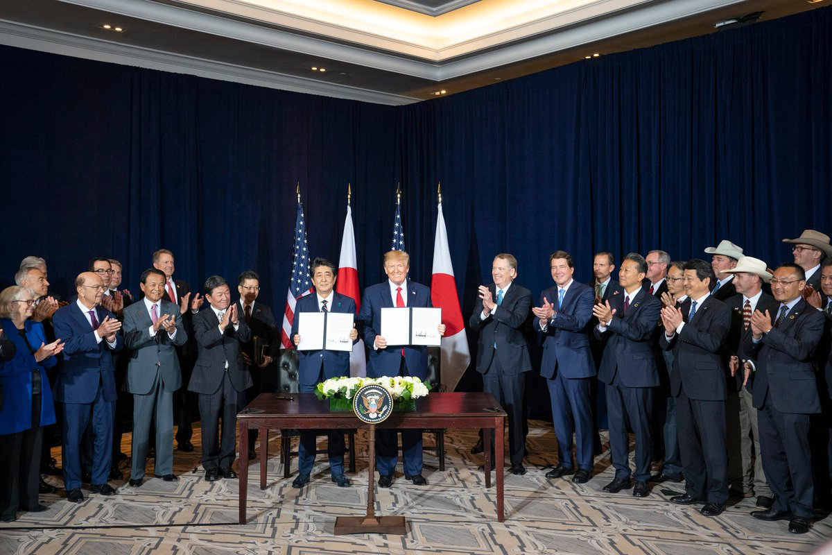 President Donald J. Trump participates in a trade agreement signing ceremony with Japan Prime Minister Shinzō Abe at the InterContinental New York Barclay in New York City. (Official White House Photo by Shealah Craighead, September 25, 2019)