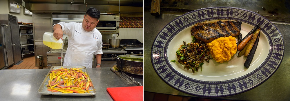 Bitsoie uses Native American cooking traditions at the museum's restaurant. (© Carol Guzy)