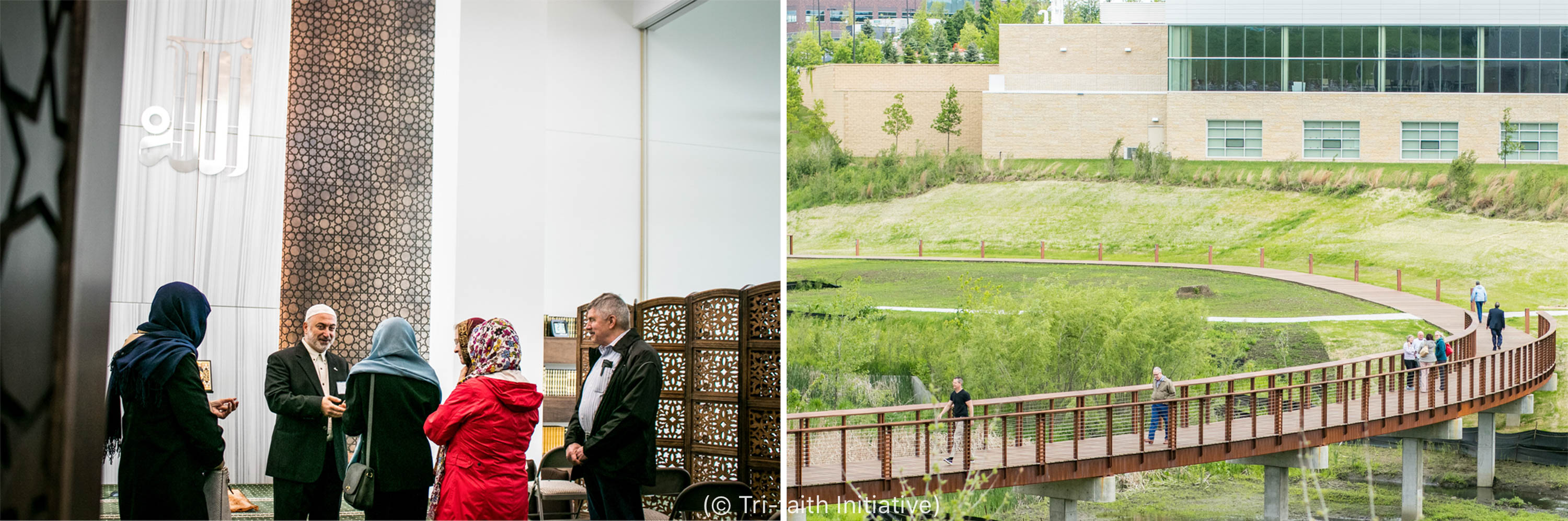 Left: Inside the American Muslim Institute, Imam Jamal Daoudi speaks to visitors. Right: Abraham's Bridge links the Tri-Faith Center houses of worship. Coincidentally, the bridge spans a stream called Hell Creek. (© Tri-Faith Initiative)
