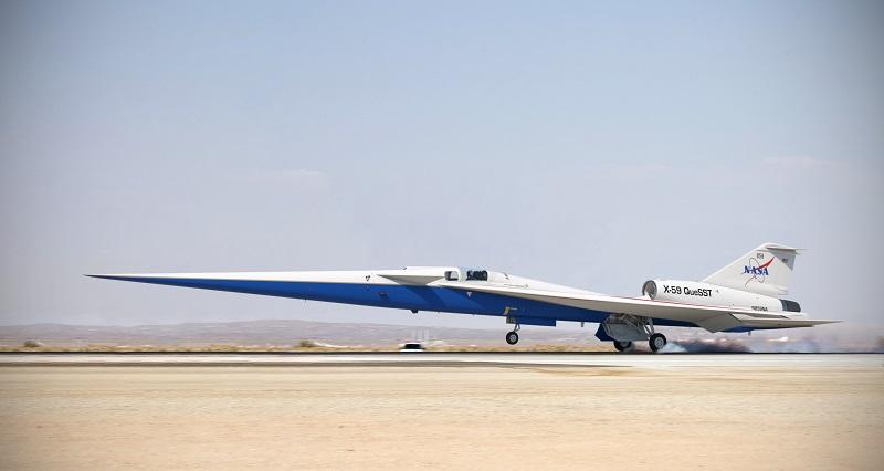 滑走路に着陸するX-59静粛超音速機(完成後イメージ) (© Lockheed Martin)