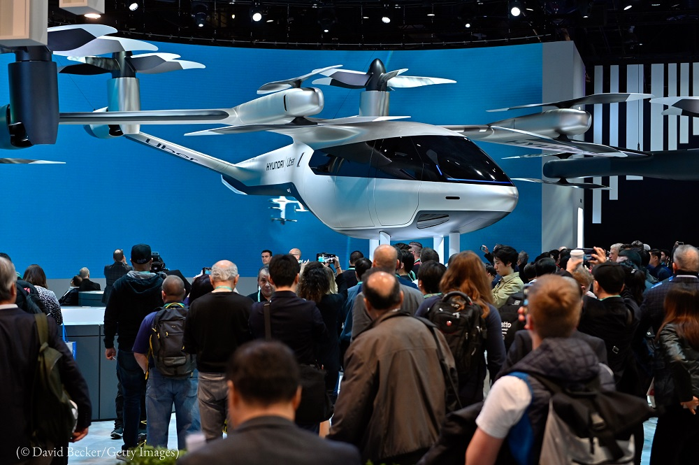 Hyundai and Uber's all-electric, full-scale air taxi, S-AI, is displayed at CES 2020 in Las Vegas. (© David Becker/Getty Images)