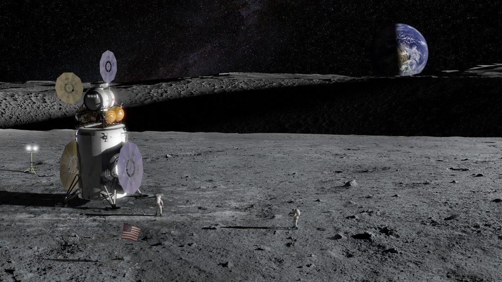 月面での有人着陸システムを描いたイメージ図 (Credit: NASA)