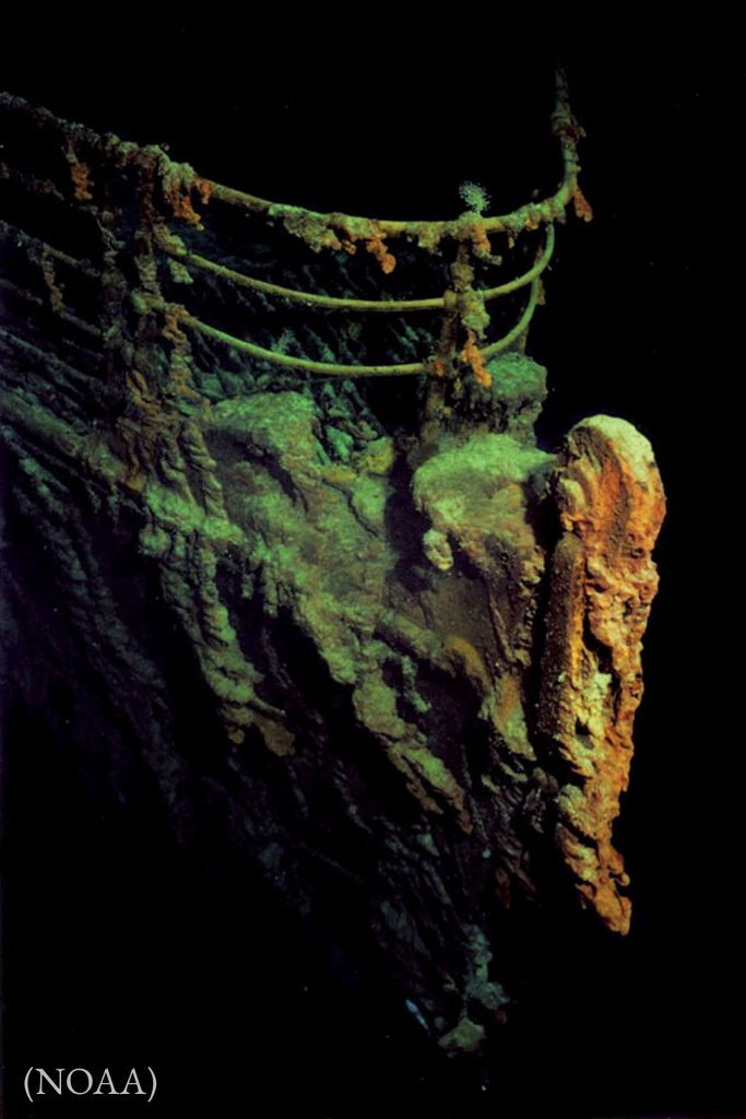 The Titanic hit an iceberg and sank on its maiden voyage. More than 1,500 passengers and crew died. (NOAA)