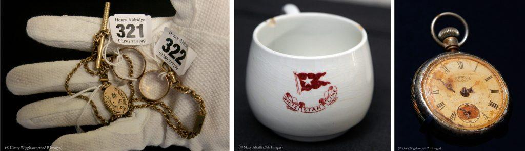 タイタニック号から回収された遺品。左から、指輪とロケットペンダント、三等船室で使われたティーカップ、懐中時計 (© AP Images)