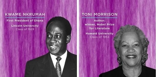 クワメ・エンクルマ(左)。 ガーナ初代大統領。 1939年リンカーン大学卒。トニ・モリスン(右)。 ノーベル文学賞受賞作家。 1953年ハワード大学卒 (© AP Images)