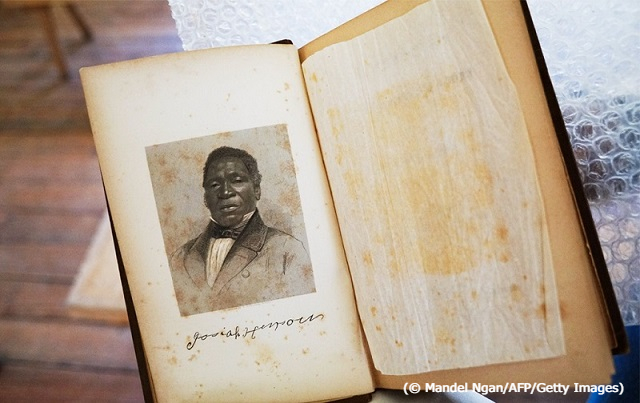 A photograph of Josiah Henson's autobiography, featuring his photograph and signature (© Mandel Ngan/AFP/Getty Images)
