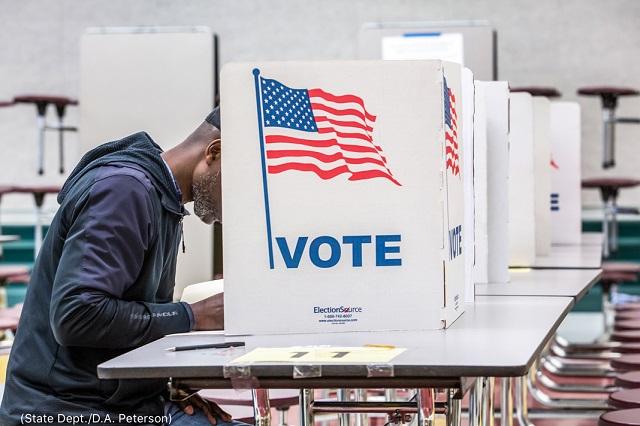 スーパーチューズデーにバージニア州フォールズ・チャーチのグラハムロード小学校で投票する有権者 (State Dept./D.A. Peterson)