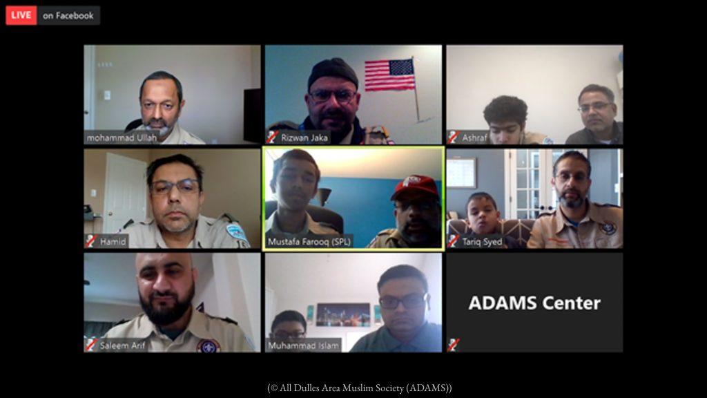 ボーイスカウト第786隊のスカウトとスカウトリーダー。感染拡大の中でもオンラインで情報を共有し活動する (© All Dulles Area Muslim Society)