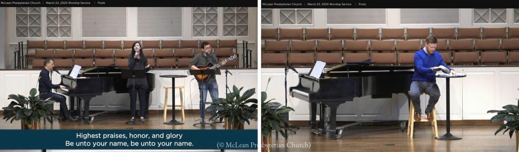 マクリーン長老派教会は礼拝サービスをオンラインで実施。人のいない聖堂で信者にオンライン説教をするジェームス・フォーサイス主任牧師(写真右)(© McLean Presbyterian Church)