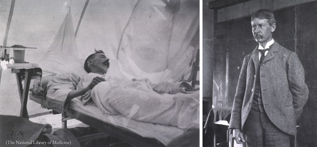 Left: A yellow fever patient in a Cuban hospital in 1898. Right: Major Walter Reed, a U.S. Army surgeon, led a military commission that helped reduce yellow fever in Cuba and Panama. (The National Library of Medicine)