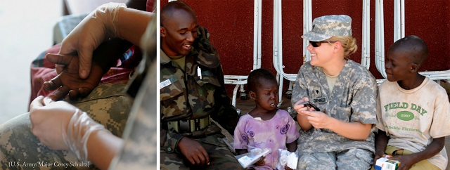 Left: Samantha Greeninger, an Army Reserve medic, holds a Ugandan girl's hand as they wait for HIV test results — the girl tested negative. Right: Greeninger and a Ugandan medic entertain children awaiting treatment at the Pajimo Clinic. (U.S. Army/Major Corey Schultz)