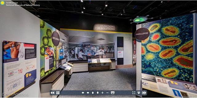 スミソニアン博物館「アウトブレーク」展の、ワクチン研究、インフルエンザ、天然痘展示コーナーのバーチャルツアー (ShareAmerica)
