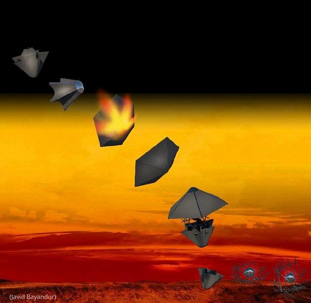 金星の過酷な環境で動作するよう設計されたTANDEM探査車のグラフィックイメージ (Javid Bayandor)